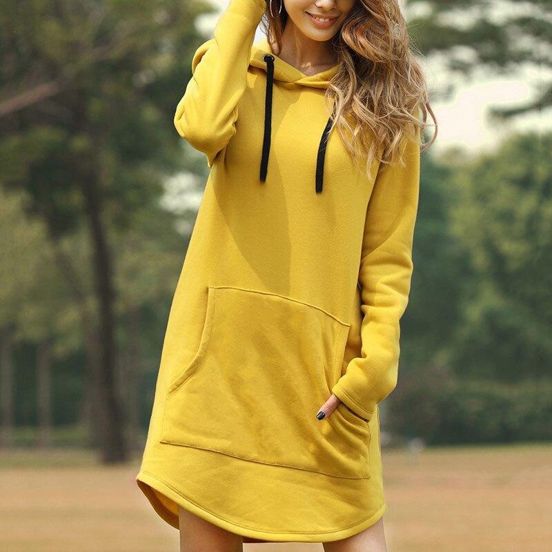 Желтая толстовка с капюшоном, модная женская Повседневная Осенняя Толстовка С Карманами и длинным рукавом, Женский пуловер оверсайз