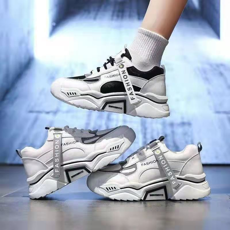 Fashion Reflective Thick Soled Sports Shoes Women's Shoes Korean Lace Up Casual Shoes Color Matching Vulcanized Shoes Women 2021 casual lace up color splice skate shoes