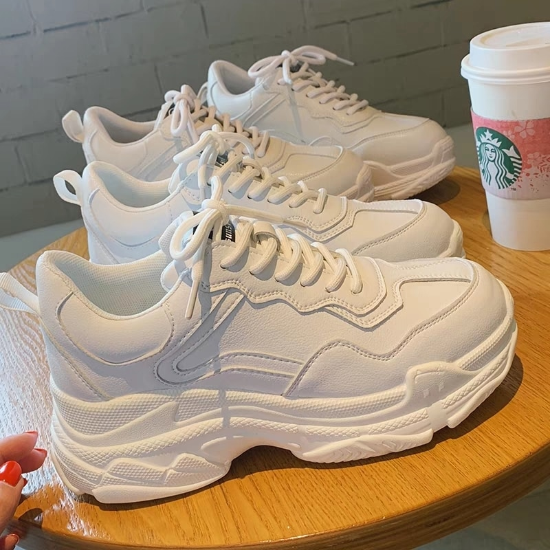 White Women Shoes New Chunky Sneakers For Women Lace-Up White Vulcanize Shoes Casual Fashion Dad Sho