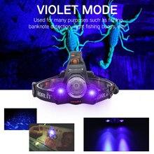2000LM 3LED T6 XPE phare lumière UV phare extérieur étanche USB lampe frontale Torches lanterne pour la chasse
