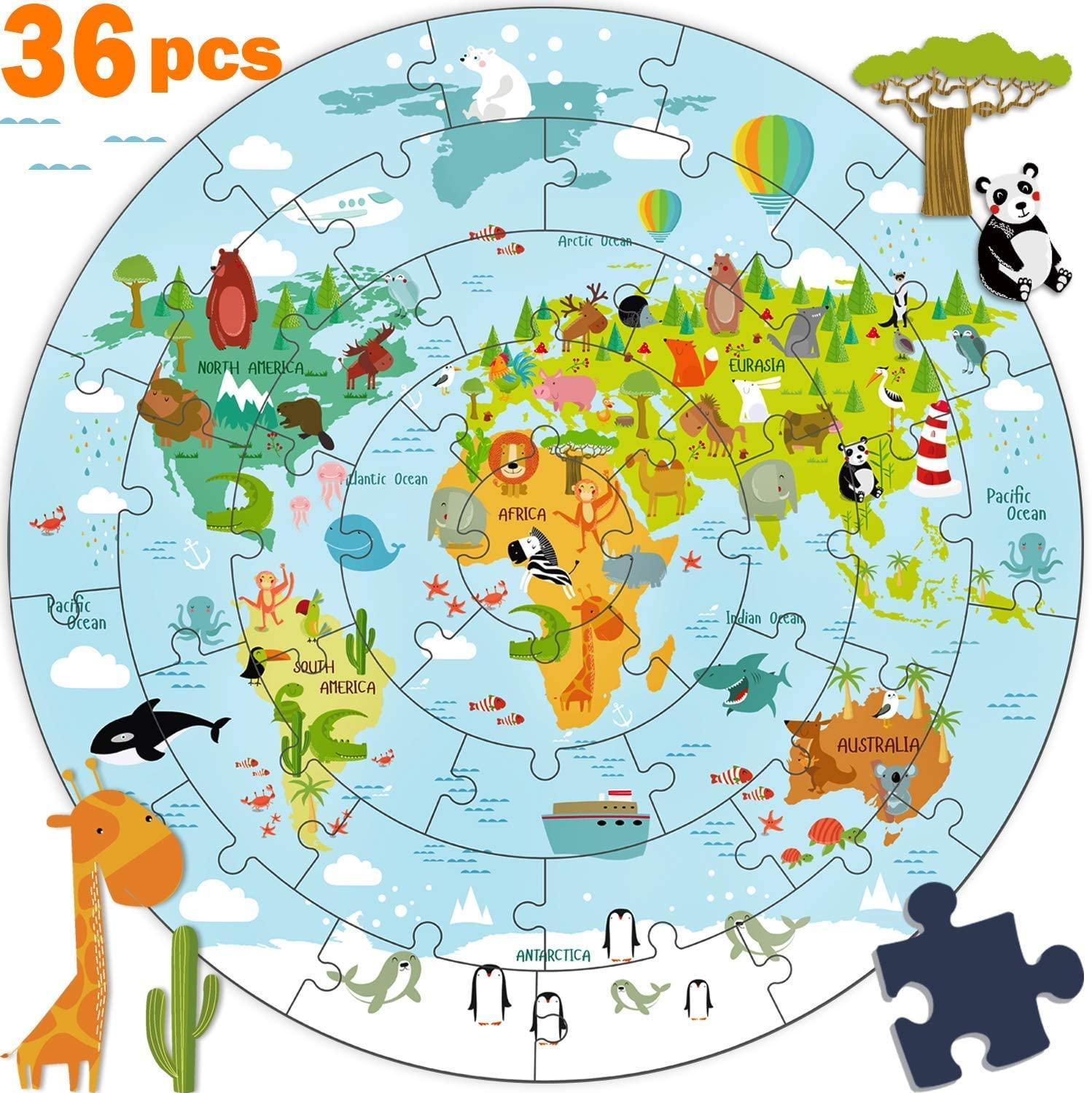 Kids Wooden Puzzle World Map Jigsaw Puzzle Montessori Educational Toy Birthday Gift for 3 4 5 6 7 8 Years Old Toddler Boys Girls