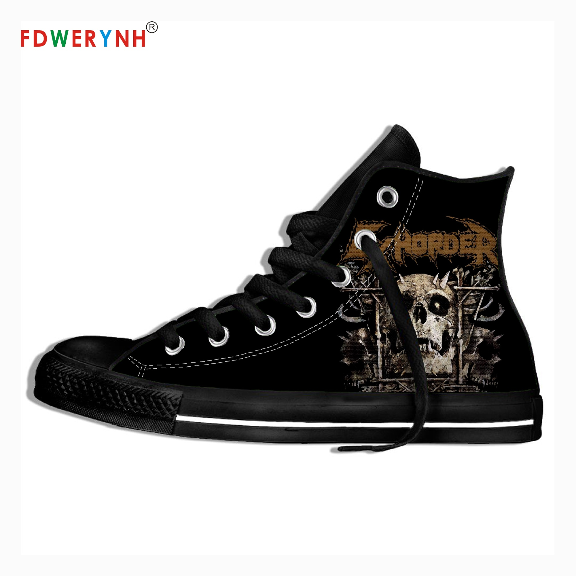 Men Walking Shoes Exhorder Music Fans Heavy Metal Band Logo Personalized Shoes Light Breathable Lace Upcanvas Casual Shoes