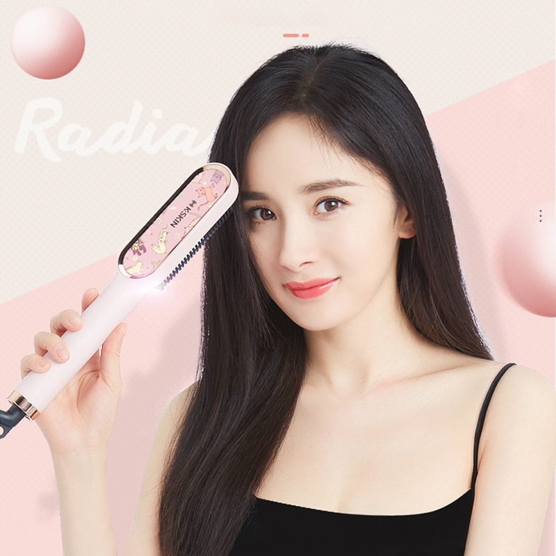 Straightening brush Ceramic Hair Straightener Brush hair Electric Hot Comb Flat Iron Anti-static hair Curler Styling Tool enlarge