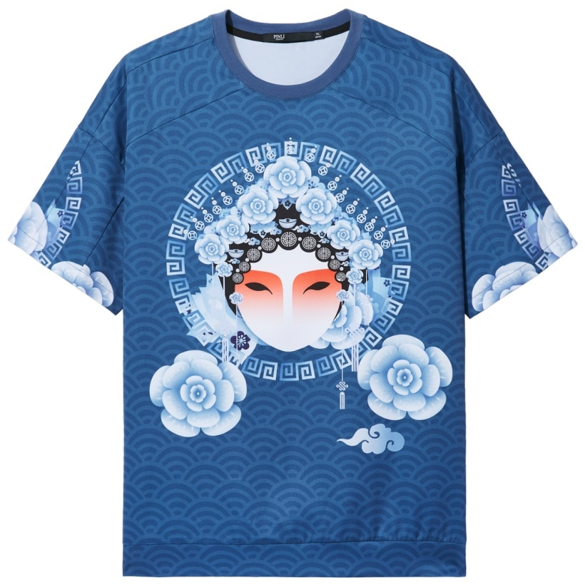 Pinli 2020 Summer New O-neck Slim Anti-wrinkle Chinese Style Beijing Opera Printed Casual Men Short Sleeve T-shirt B202511245