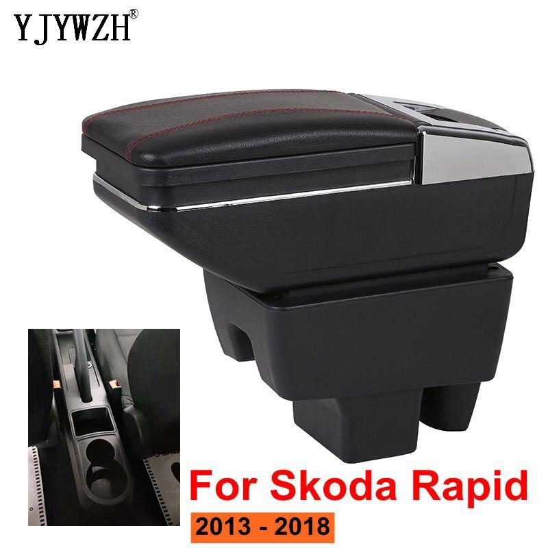 Подлокотник коробка для Skoda Rapid 2013-2018 центральная консоль крышка подлокотника коробка для хранения внутренних аксессуаров для автомобиля ...