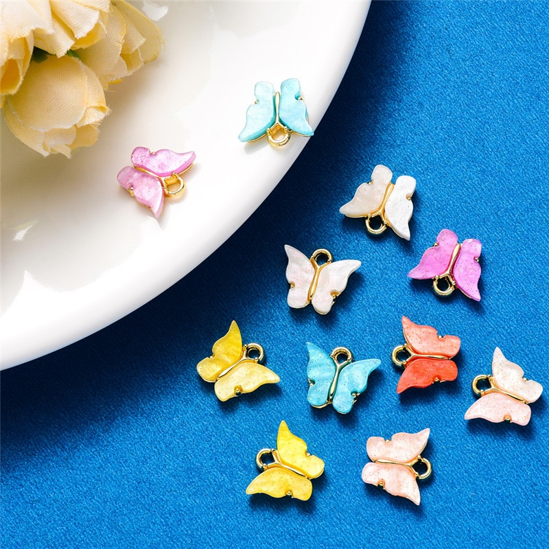 10Pcs Fashion Cute Butterfly Womens Earrings Stud Color Acrylic Animal Sweet Colorful Girls Jewelry