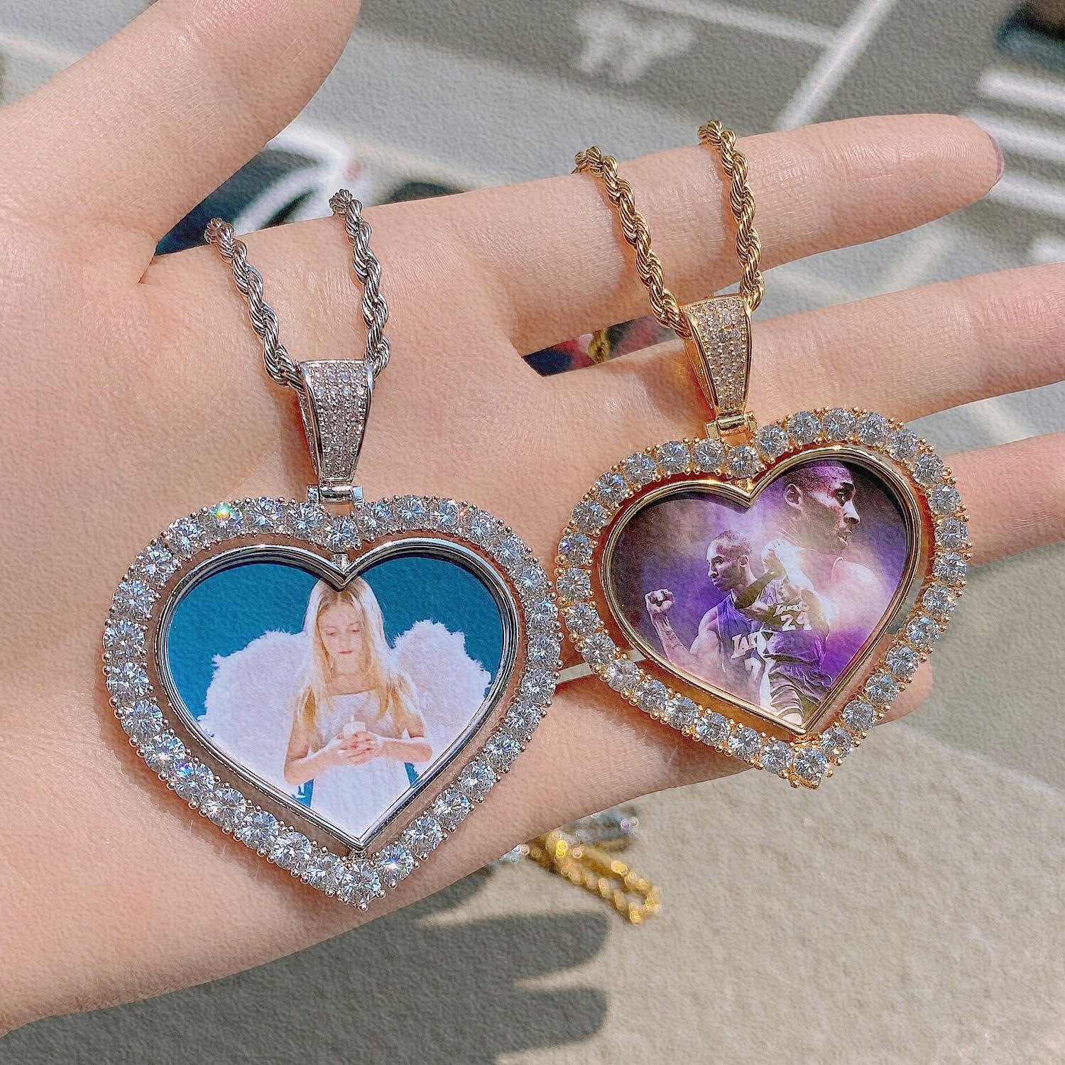 Custom Heart-Shaped Photo Medallions Memory Necklace Pendant Double-side Bling Cubic Zirconia Personalized Customized Jewelry