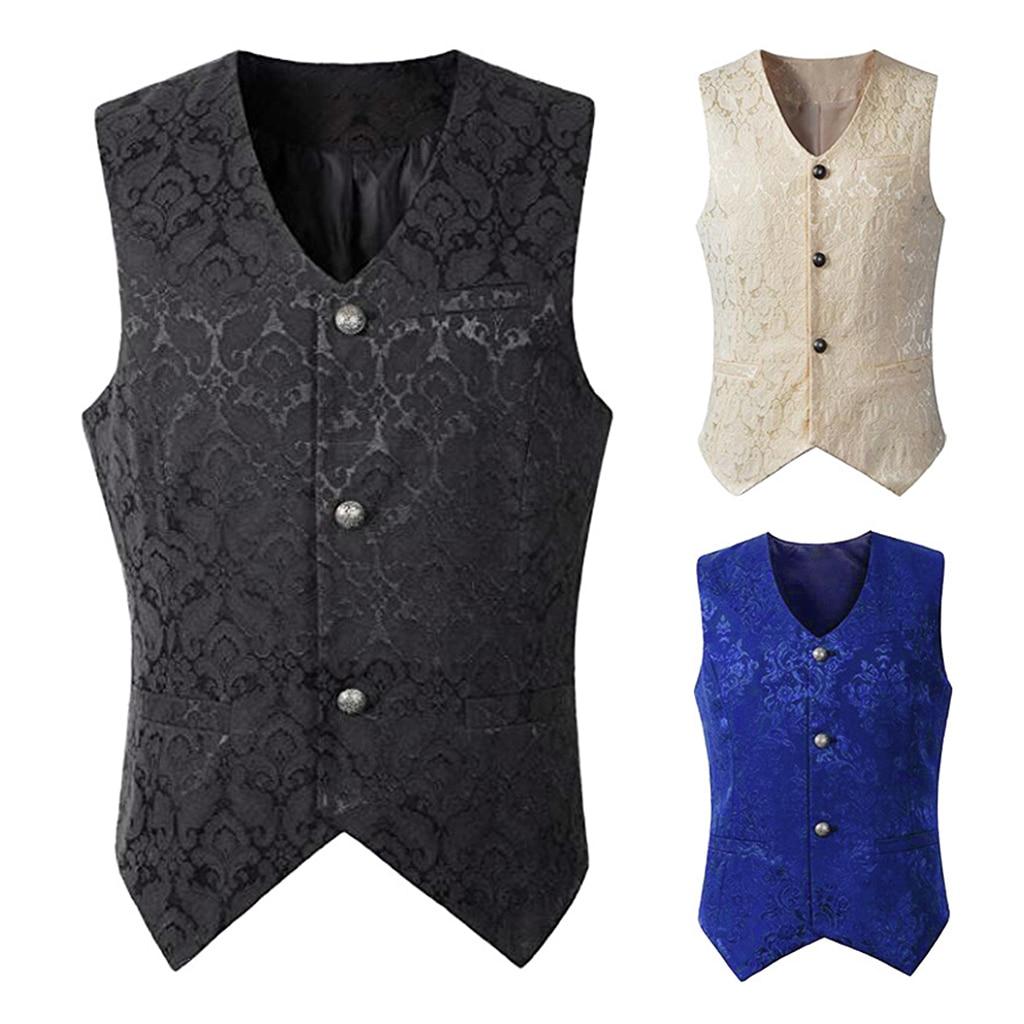 Men's Vintage Medieval Jacquard Waistcoat Gothic Steampunk Gentleman Vest
