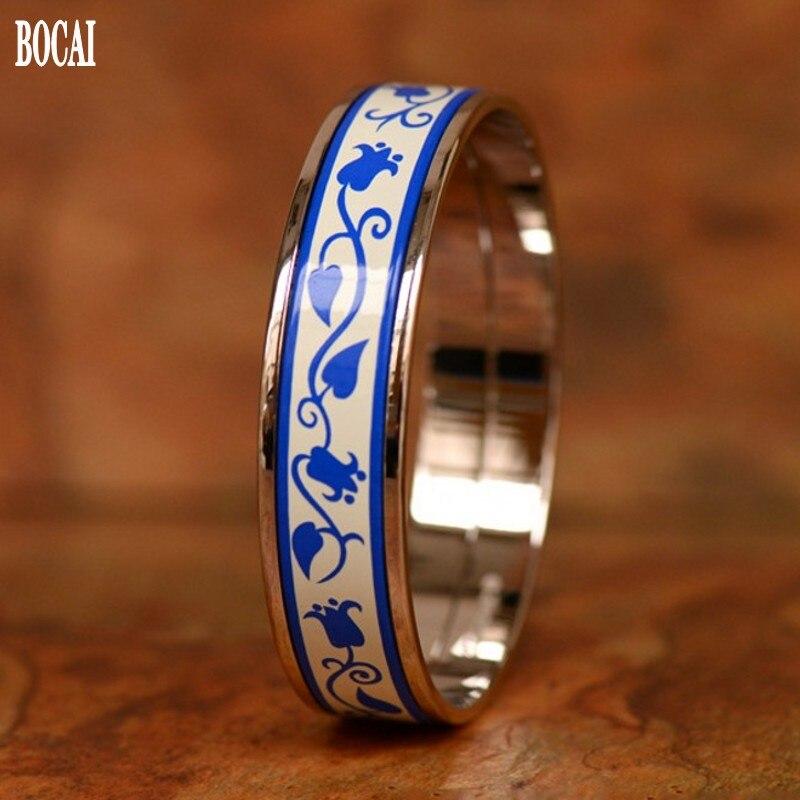 2020 nueva pulsera de cloisonné para mujer, joyería esmaltada de 1,5 cm, pulsera de mujer, regalo de hermano y hermana dorado, Rima azul y blanca