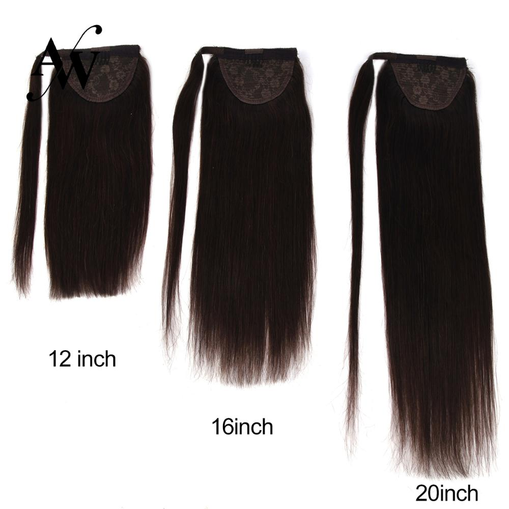 AW  12''-24'' Ponytail Human Hair Straight Machine Made Remy Hair Wrap Around Natural Clip In Horsetail Extension Balayage Color