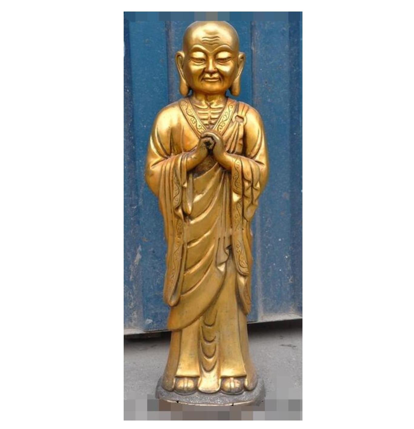 Tibet, Budismo de bronce dorado Tantra Anan Tuo eminentes estatua del monje Buda escultura