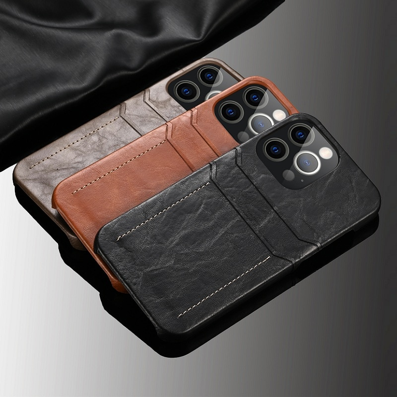 Luxury Retro Vintage Leather Slim Card Holder Case For iPhone 13 12 11 Pro Max Mini Phone Luxury Cute Slippery Hard Shell Cover