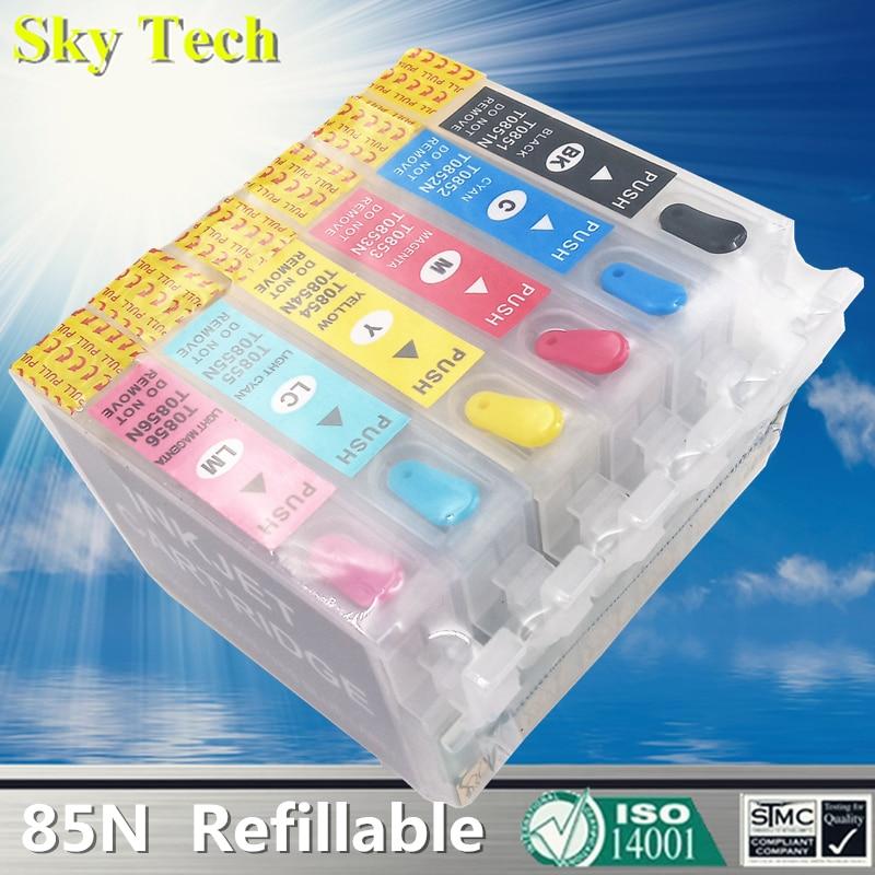 Cartucho de tinta recargable vacío 85N para Epson T0851N T0851, para Epson T60 R1390 R330 etc, con arco