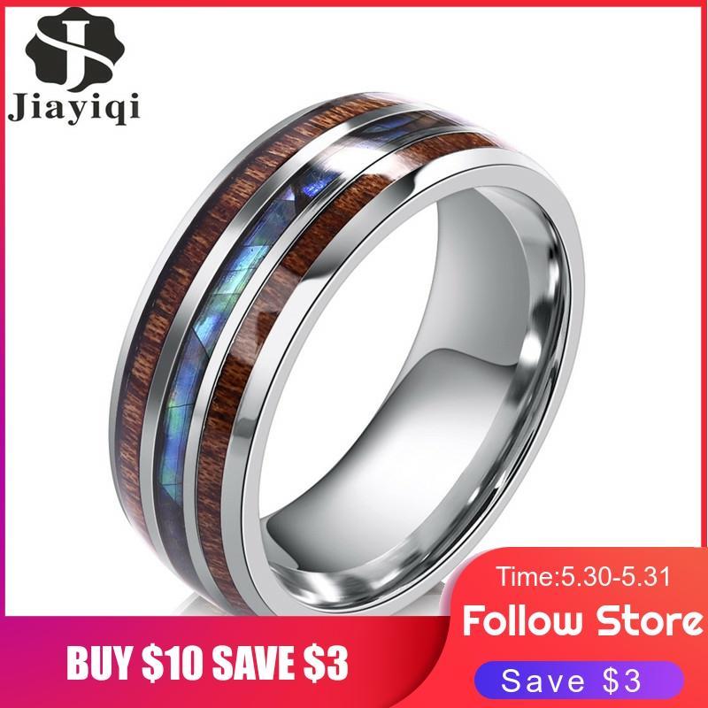 Jiayiqi мужские кольца из нержавеющей стали с деревянным покрытием модные женские кольца мужские ювелирные изделия подарки