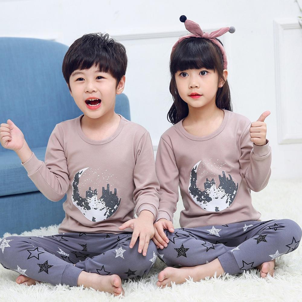 Conjunto de ropa de pijamas de algodón para niños Otoño Invierno manga larga + pantalón 2 piezas pijamas niños ropa de dormir de dibujos animados homewear