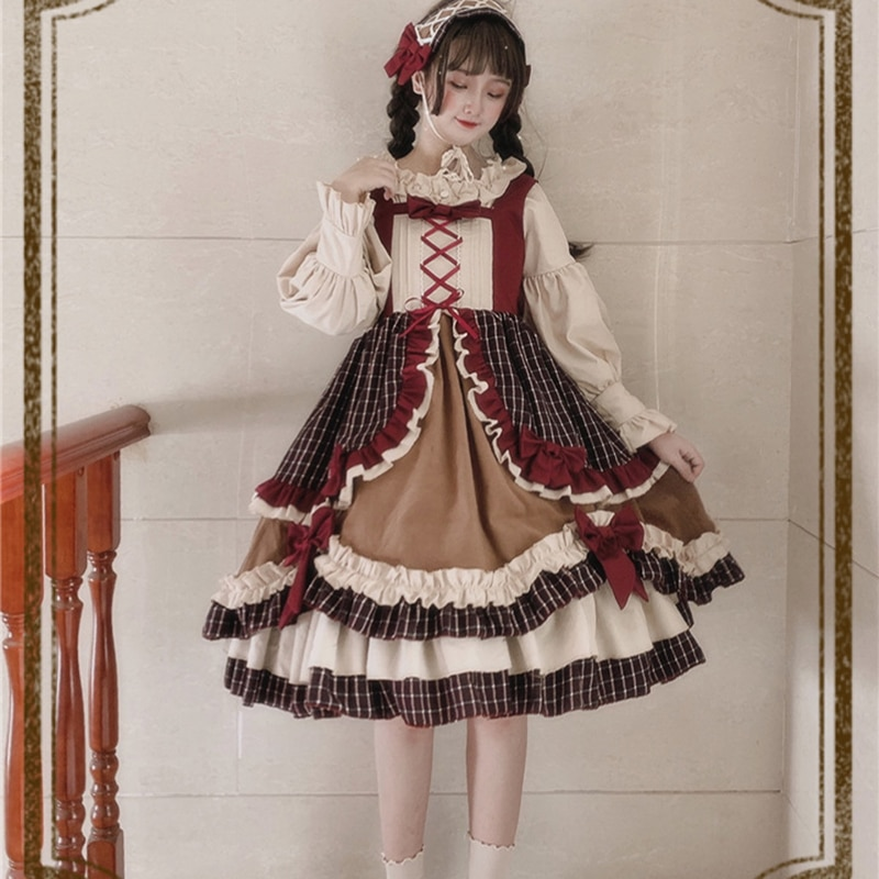 England style lolita dress vintage falbala bowknot kawaii dress high waist lattice victorian dress gothic lolita jsk loli cos vintage bowknot button embellished plaid dress