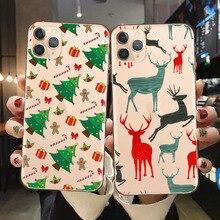Funda de teléfono de silicona blanda con dibujo de ciervo navideño para Coque iPhone 12 11Pro Max 8 7 Plus X XR XS Max cubierta de Año Nuevo Santa Claus