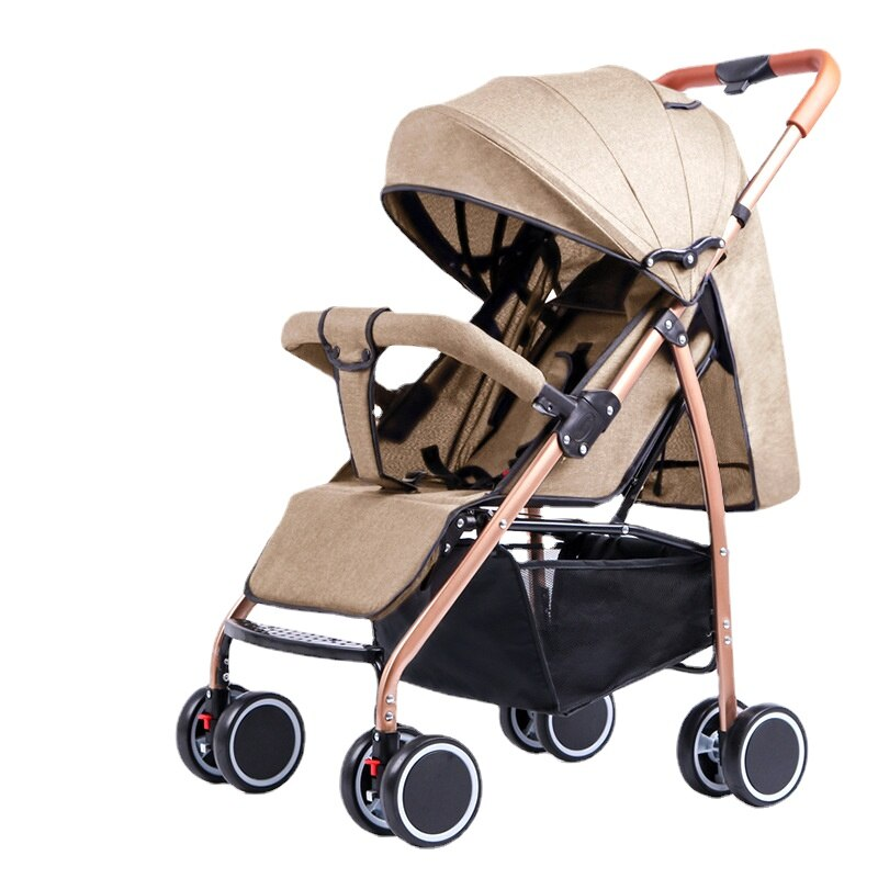 High-view Baby Two-way Push Stroller Can Sit and Recline Four-wheel Shock Absorber Folding Baby Stroller