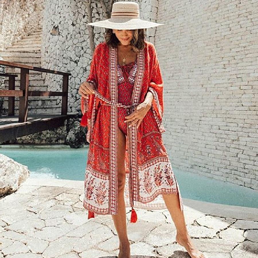 TEELYNN rayon boho Wrap dress 2020 red floral print summer dresses beach wear V-neck kimono sleeve robe chic long women dresses