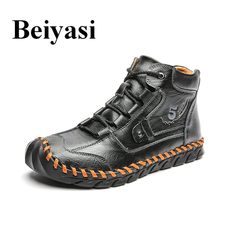 autumn winter men s chelsea boots british style fashion ankle boots black brown grey brogues soft leather casual shoes business Autumn Winter Men's Warm Boots Handmade Casual Leather Shoes Men Boots Waterproof Men Ankle Boots Fashion Outdoor Men Sneakers