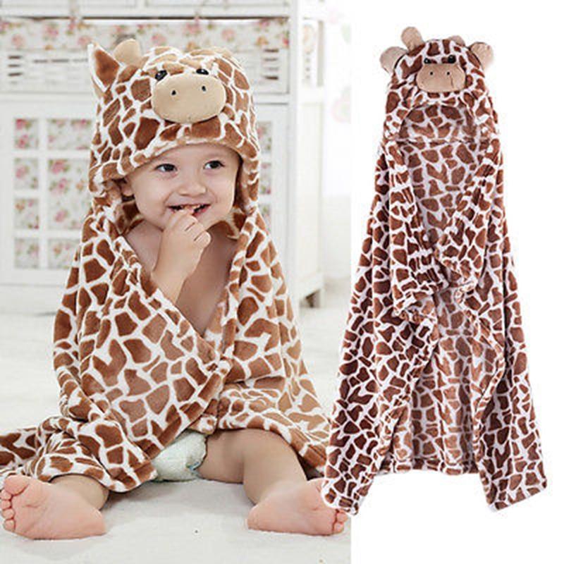 100cm Cute Bear Shaped Baby Hooded Bathrobe Soft Infant Newborn Towel Giraffe Towel Blanket Baby Bath Towel Cartoon Patter Towel