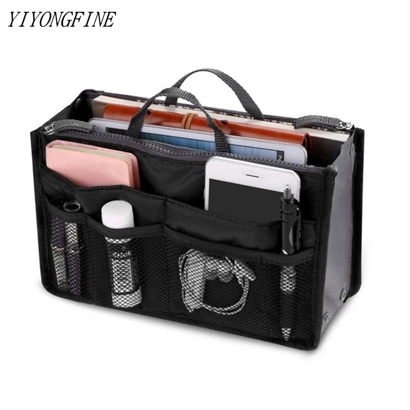 Tote Cosmetic Bag For Women Double Zipper Makeup Bag Toiletries Grooming Kit Large Nylon Travel Insert Organizer Handbag Purse