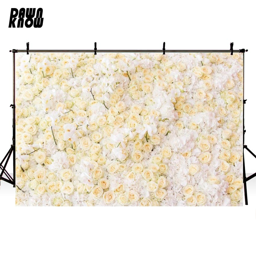 DAWNKNOW Flower Vinyl Photography Background For Family New Fabric Polyester Backdrop For Wedding Photo Studio G605
