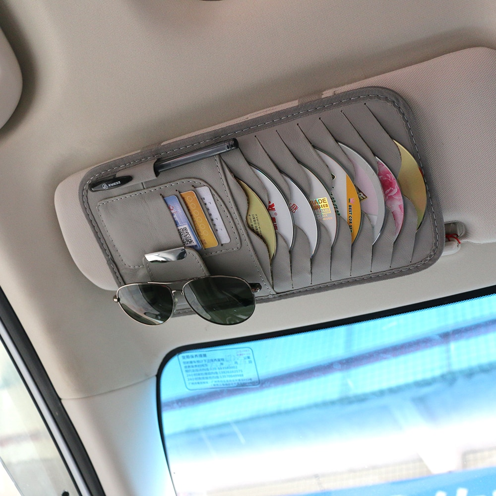Car Sun Visor Leather Auto Car Sunshade Sun Visor CD Card Glasses Holder Organizer Bag Cars Kit Gadg