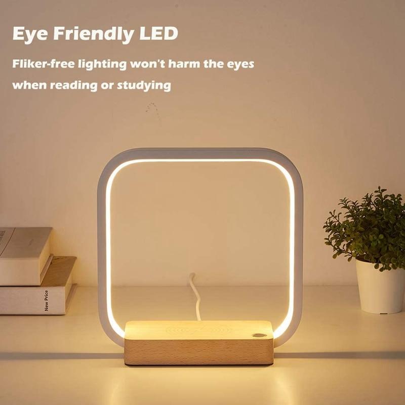 مصباح مكتب LED مع شاحن لاسلكي ، شدة إضاءة قابلة للتعديل ، إضاءة داخلية مزخرفة ، مثالية لغرفة الطفل أو غرفة النوم ، ABUX
