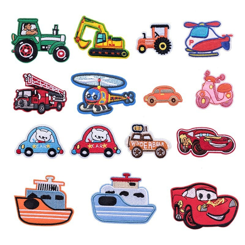 1 pieza de pegatinas de tela con bordado de dibujos animados para coche, accesorios de decoración para ropa, parches adhesivos para parte trasera de camión, pegatinas de tela adhesivas