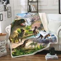 kids anime dinosaur 3d blanket fleece cartoon art print children warm bed throw blanket newborn bayby blanket style 01
