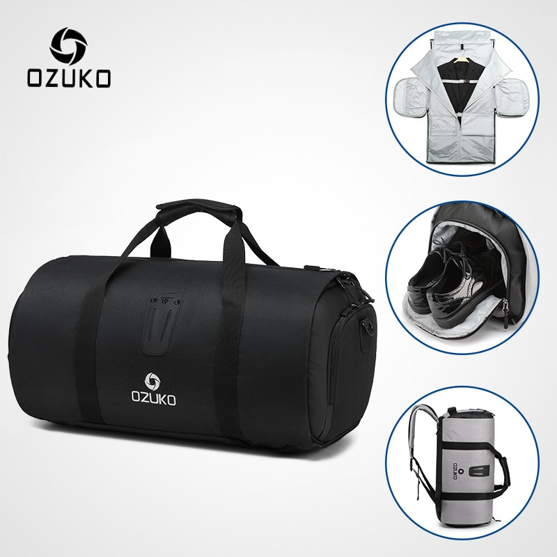 OZUKO متعددة الوظائف سعة كبيرة الرجال حقيبة سفر مقاوم للماء حقيبة ظهر قطنية لرحلة دعوى تخزين حقائب اليد الأمتعة مع الحقيبة الحذاء