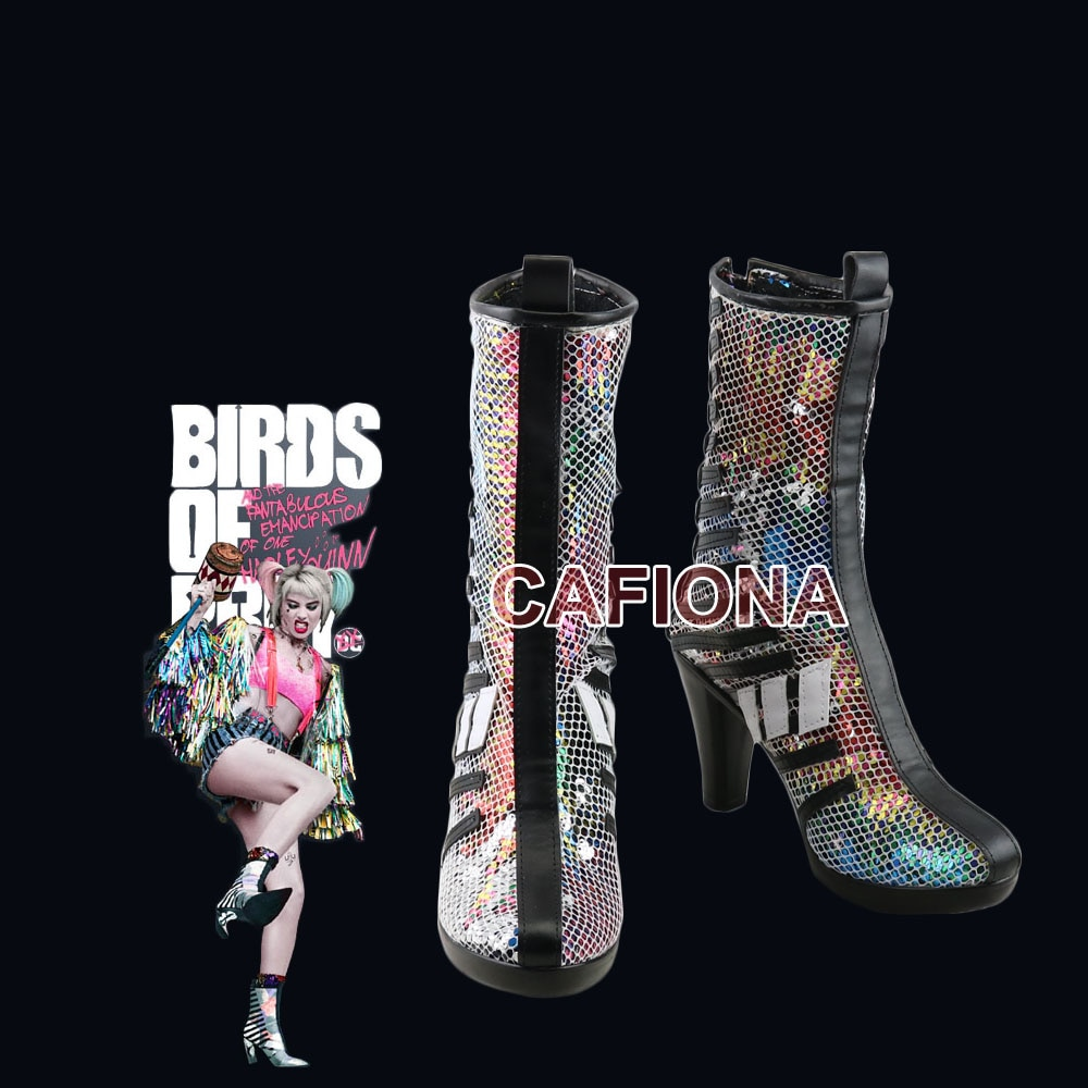 Chaqueta Popular de 2020, zapatos de Harley Quinn, Cosplay de pájaros de presa, oferta, botas coloridas de Halloween
