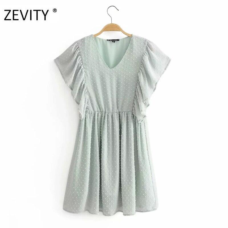 ZEVITY nueva moda mujer cuello pico puntos costura casual chiffon vestido femenino plisado mariposa manga Vestidos Chic DS4376