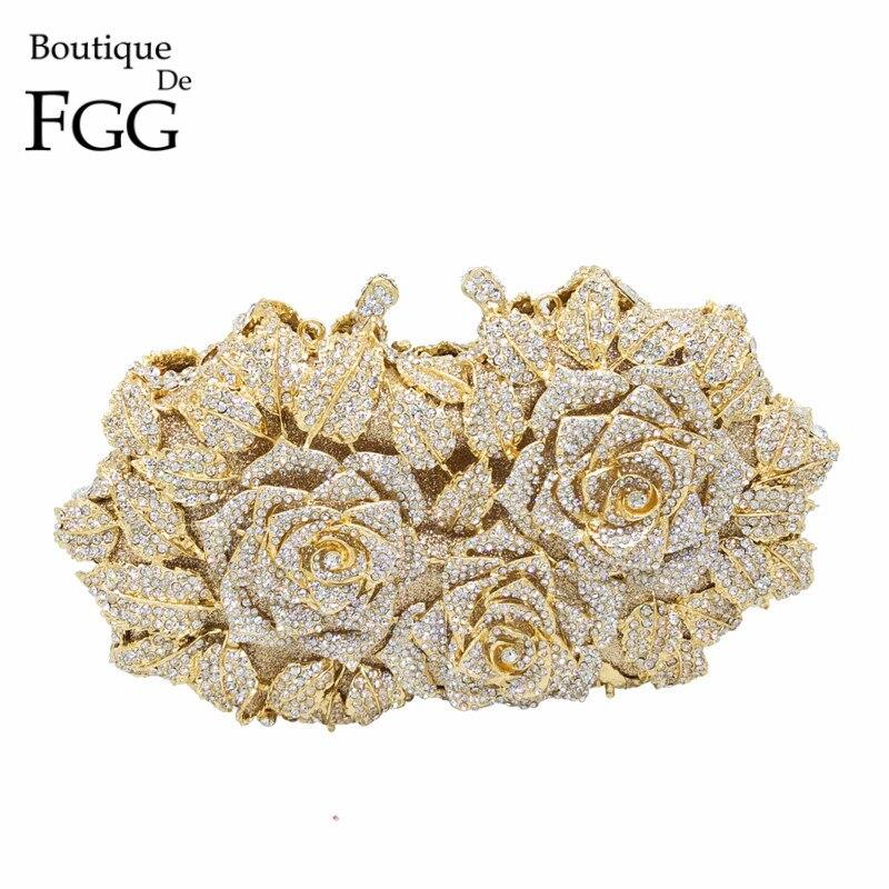 Deslumbrante mujer oro rosa flor ahueca hacia fuera cristal noche Metal embragues pequeño Minaudiere bolso de mano monedero boda caja embrague bolsa