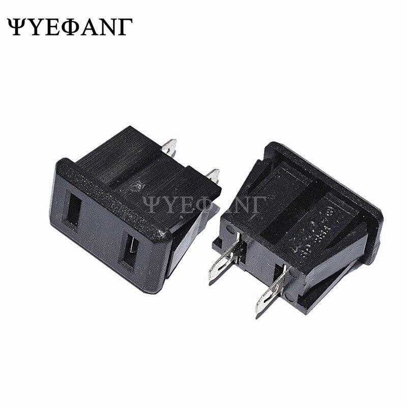 5 pces SP-864 ac 10a/250 v 15a/125 v eua plug montagem em painel eua tomada de alimentação 2pin preto