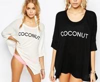 women fashion bikini cover up t shirt letter print irregular cotton beach tops short swim beachwear dress plus size black white