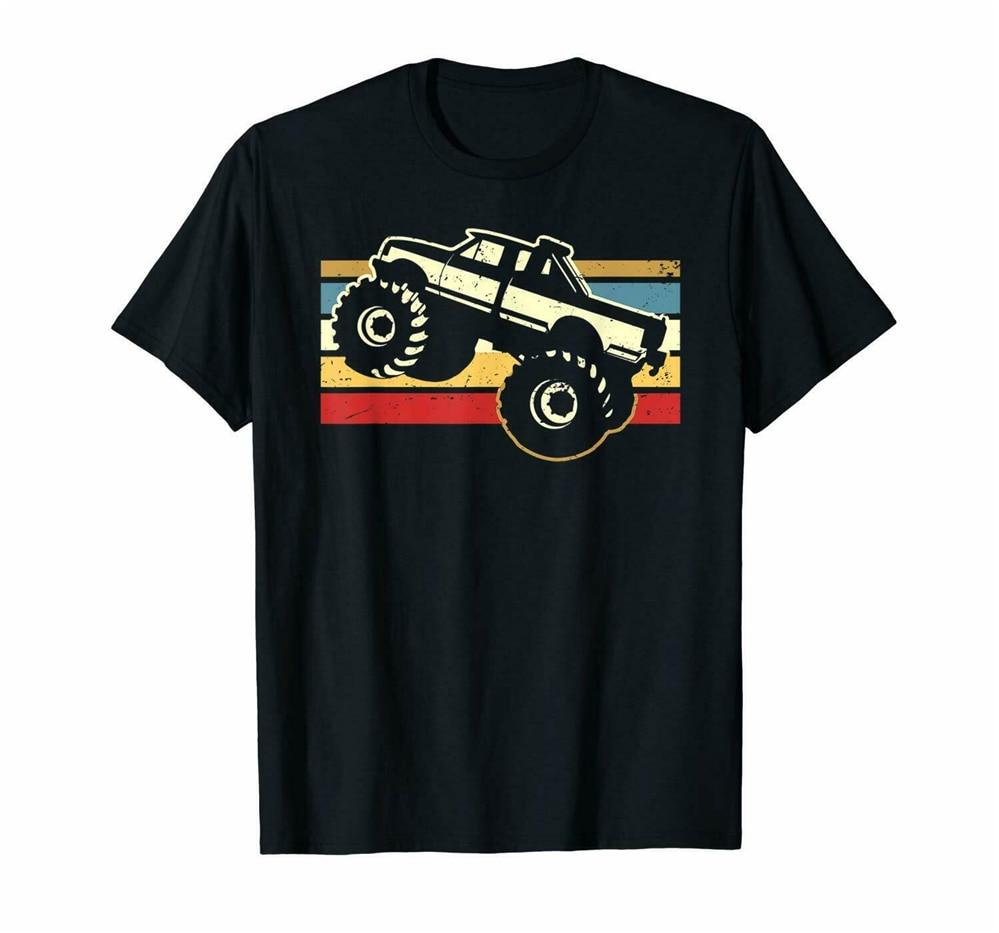 Monster Truck Racer Speed Up Bigfoot Funny Sunset Vintage negro camiseta hombres mujeres S-3XL camisa holgada tamaño