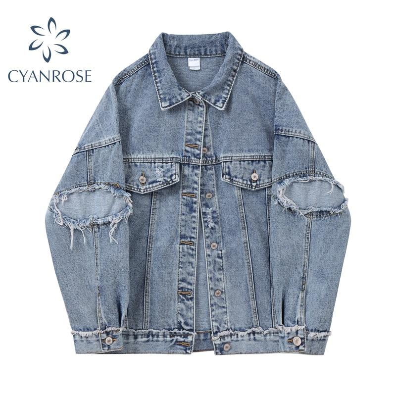 Long Sleeve Ripped Denim Jacket Women Autumn Korean Style Retro Casual Blue Loose Turn-down Collar J