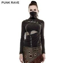 PUNK RAVE Steampunk col haut masque femme T-shirts Stretch tricot couture élastique maille tissu hauts noirs Punk Rock T-shirts gothique