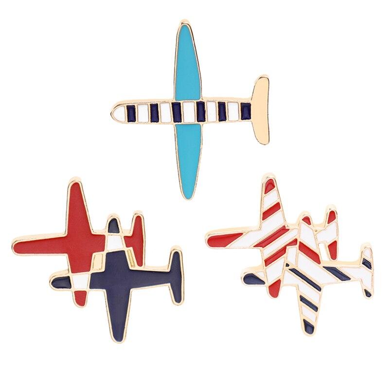 Conjunto de broches de avión a la moda, broche de avión de dibujos animados para niños y niñas, mochila, bolsa, cuello, solapa, pin, insignia de botón