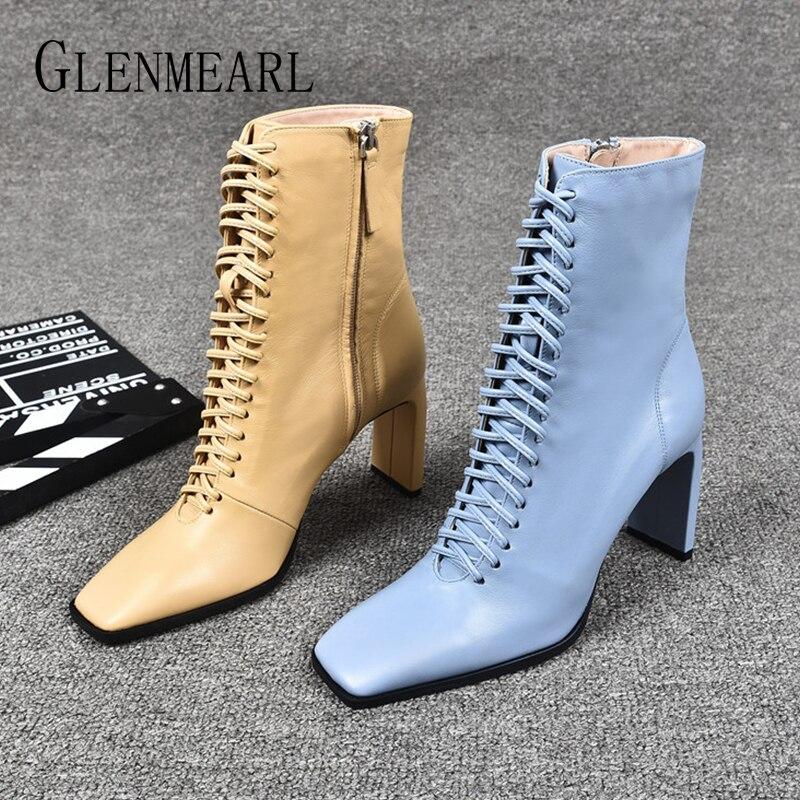 Женские кожаные ботинки; Модная обувь на высоком каблуке; Зимние женские Ботинки Martin на шнуровке; Ботильоны с квадратным носком; Женская обувь на каблуке