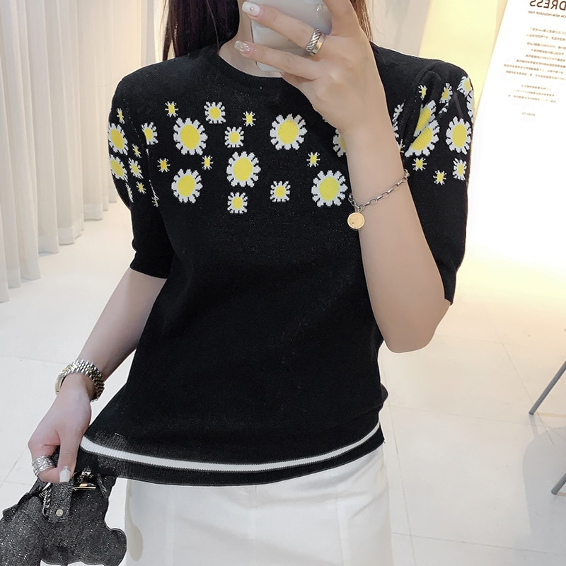 2020 verano nuevo suéter Harajuku mujeres tejidas Floral Daisy Camiseta Vinatge Camiseta femenina Casual manga corta Top