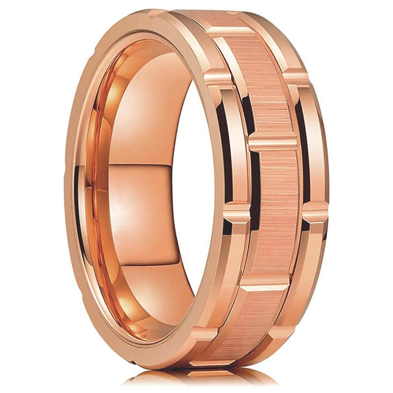 Fashion 8MM Rose Gold Tungsten Wedding Men's Stainless Steel Rings Double Groove Brick Pattern Brushed Rings Men Wedding Band tailor made luxury western rose gold color inlay health surgical stainless steel wedding bands rings sets