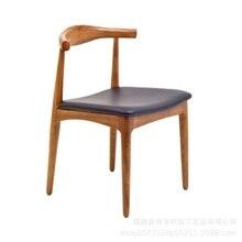 Nordic madeira maciça jantar cadeira simples casual cadeira de café escritório cadeira chifre cadeira presidente restaurante poltrona traseira