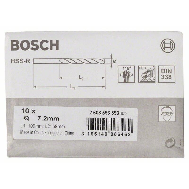 2608596593 сверла BOSCH для металлических HSS-R, DIN 338 7,2x69x109mm