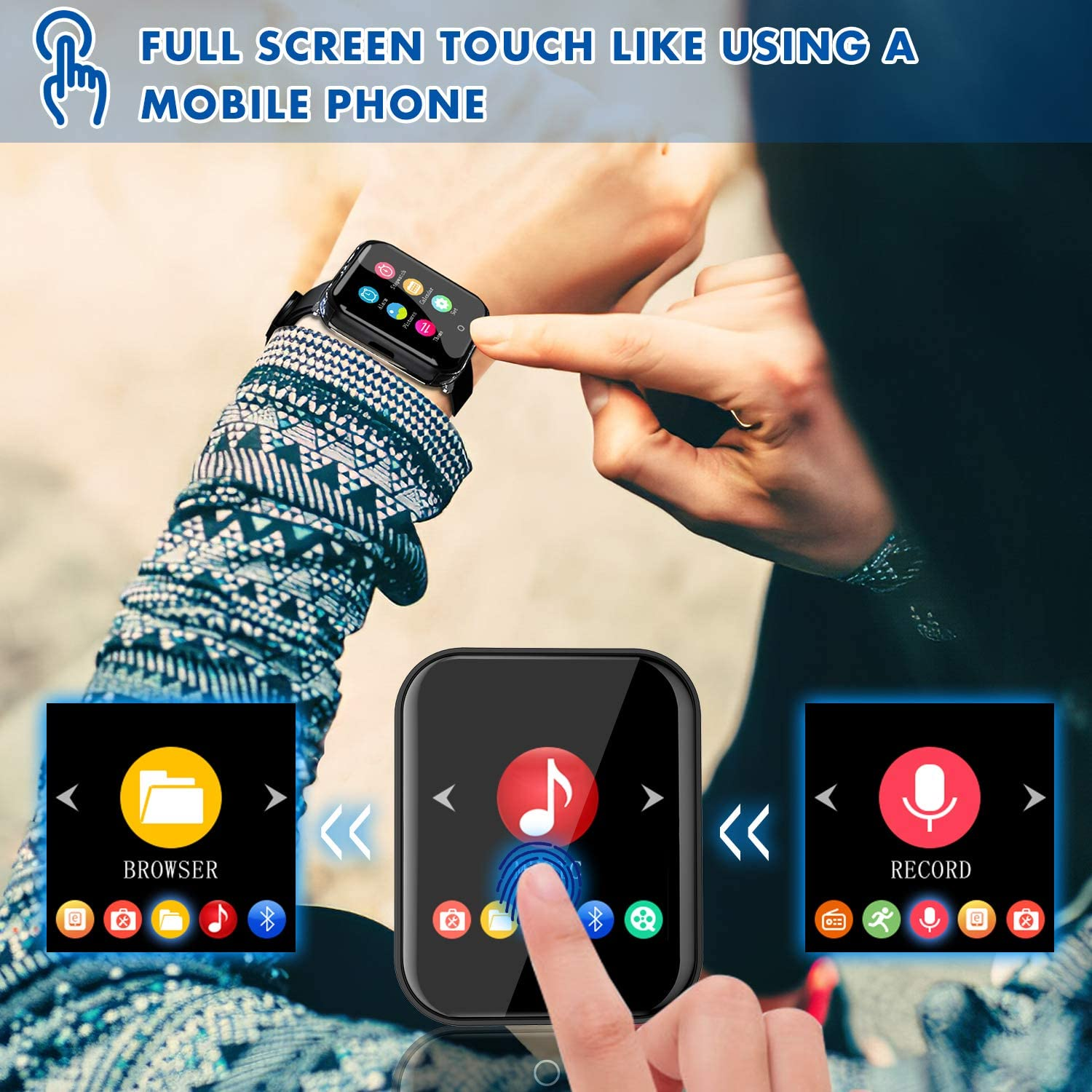RUIZU M8 MP3 Bluetooth player detachable full touch screen 16GB wearable music player, support FM radio, recorder, video, e-book enlarge