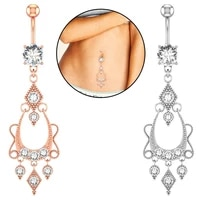 women belly button piercing long stainless steel dangled female navel piercings crystal opal accessories sexy woman body jewelry