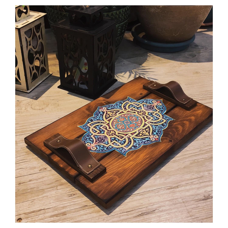 الخشب الطبيعي الصلبة عرض صينية-بانوراما نمط المطبخ صينية ، تصميم البلاط اليدوية الشاي ، علبة القهوة