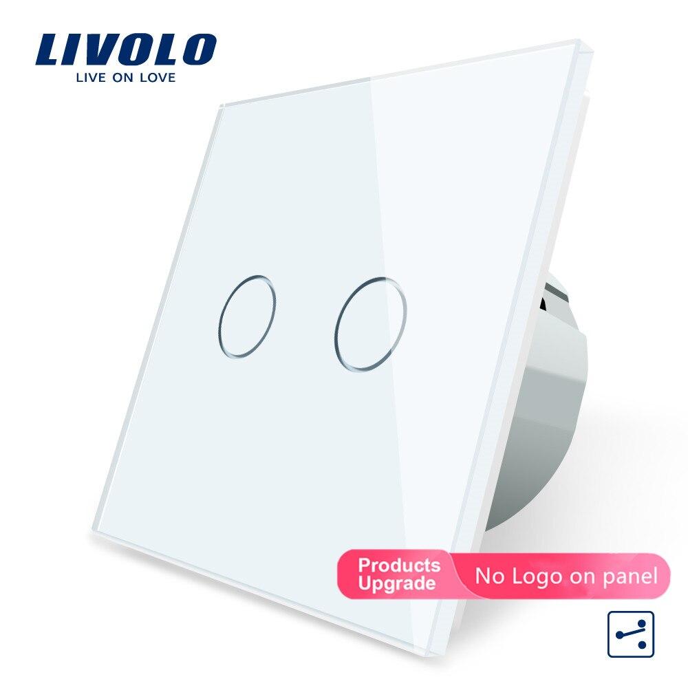 Livolo стандарт ЕС сенсорный выключатель, 2 банды 2 пути управления, панель из хрустального стекла, настенный светильник, 220-250 В, VL-C702S-11 для умного дома